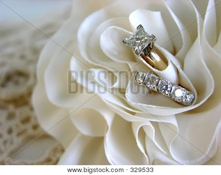 Diamond Wedding Rings In The Folds Of The Bride's Dress.