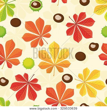 Autumn Seamless Pattern. Autumn Background With Chestnuts And Chestnut Leaves. Chestnuts Peeled And