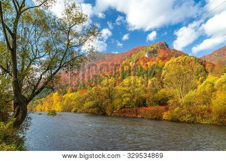 Autumn Landscape With The River Vah In The North Of Slovakia, Europe.