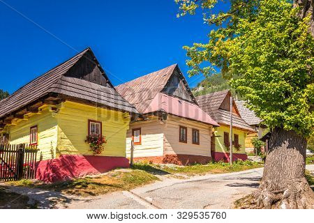 A Street With Ancient Colorful Houses In Vlkolinec Village, Slovakia, Europe.