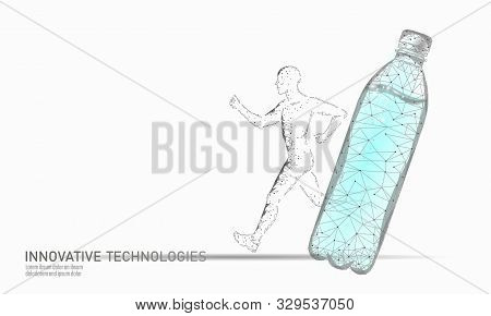 Water Aqua Bottle Jogger Rehydration Concept. Health Care Against Dehydration Isotonic Electrolytes