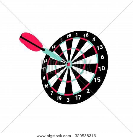 Dartboard With Darts Isolated On White Background. Flat Shot On Green Backdrop. Marketing Strategy.
