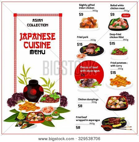Japanese Cuisine Restaurant Menu, Traditional Food Dishes. Vector Menu Of Iridori Chicken, Fried Por
