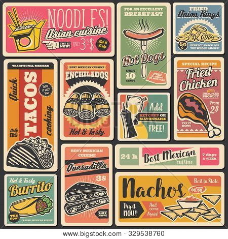 Vector Fastfood Hot Dogs And Burgers, Street Food Takeaway Mexican Tacos, Nachos And Burrito, Asian
