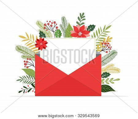 Christmas Letter Coming Out Of Envelope. Blank White Paper For Writing Xmas Message. Vector Illustra