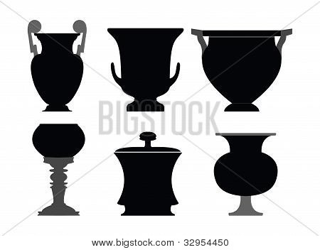 Ancient greek vase silhouettes