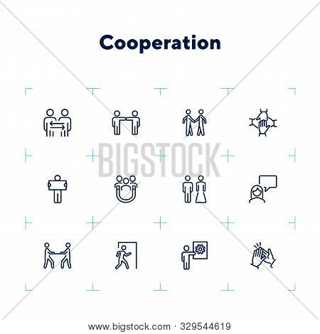 Cooperation Line Icon Set. People, Team, Partner, Family. People Connection Concept. Can Be Used For