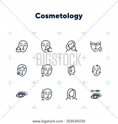 Cosmetology line icon set. Botox injection, solarium, mascara. Beauty concept. Can be used for topics like dermatology, skin care, aesthetics poster