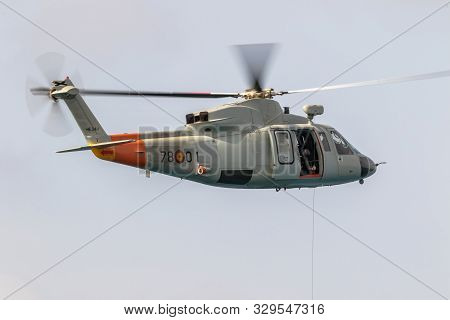 Motril, Granada, Spain-jun 09: Helicopter Sikorsky S-76c Taking Part In An Exhibition On The 12th In