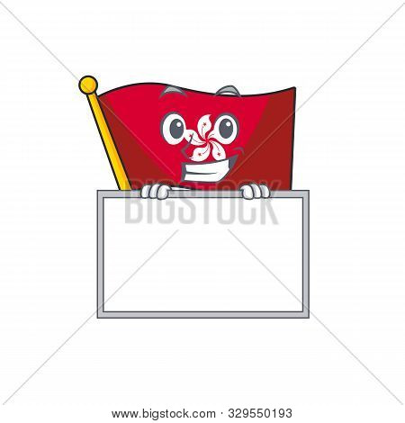 Grinning With Board Flag Hongkong Cartoon Isolated The Character