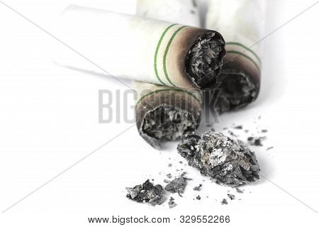 Cigarette stub isolate on white color background. poster