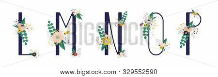 Сollection With 5 Letter Of Floral Alphabet - L, M, N, O, P.. Spring And Summer Alphabet Decorated W