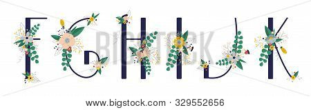 Сollection With 5 Letter Of Floral Alphabet - F, G, H, I, J, K. Spring And Summer Alphabet Decorated