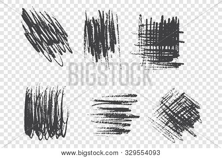 Charcoal Pencil Scrawl Vector Illustrations Set. Black Brushstrokes With Dry Paint Effect, Grunge Sc
