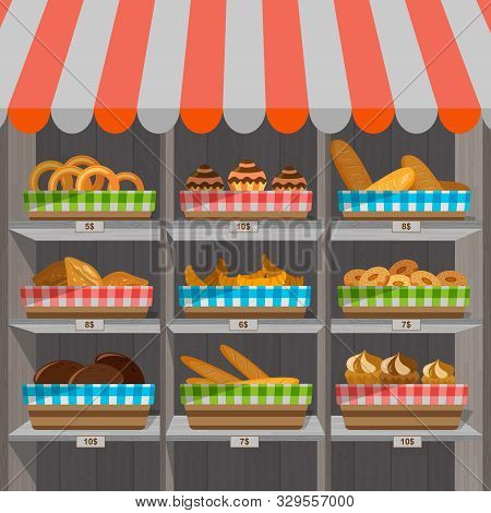 Shopping Stands With Bakery Products In Baskets. Supermarket Shelves With Wheat, Rye And Whole Grain