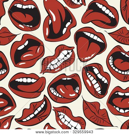 Vector Seamless Pattern With Sexy Woman Lips With Different Emotions. Woman Mouth With A Kiss, Smile
