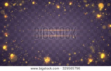 Light Abstract Glowing Bokeh Lights. Bokeh Lights Effect Isolated On Transparent Background. Festive
