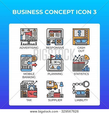 Business Concept Icons Set In Modern Line Icon Style For Ui, Ux, Web, Mobile App Design, Etc.