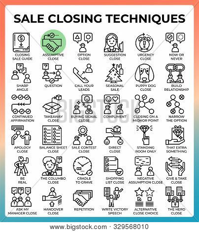 Sale Closing Techniques Detailed Line Icons Set In Modern Line Icon Style For Ui, Ux, Web, App Desig