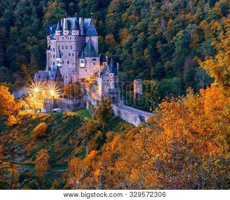Picturesque Autumn Scenery Of Burg Eltz Castle At Twilight, Rhineland-palatinate, Germany