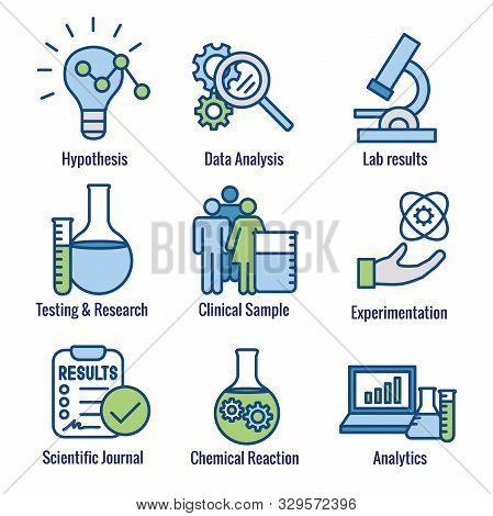 Scientific Process Icon Set - Hypothesis, Analysis, Etc