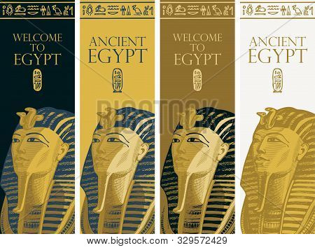 Set Of Vector Banners With Golden Mask Of Pharaoh Tutankhamun And Egyptian Hieroglyphs. Advertising
