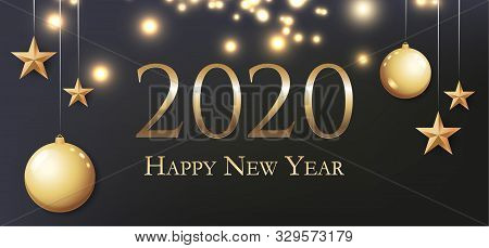 Card With Greeting 2020 Happy New Year. Illustration With Gold Christmas Balls, Light, Stars And Pla