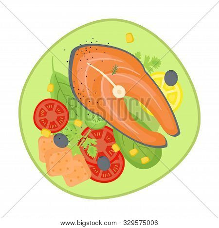 Supper With Fish And Fresh Salad On The Plate. Isolated Cartoon Dishes. Doodle Color Illustration Of
