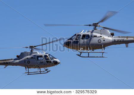 Tyabb, Australia - March 9, 2014: Royal Australian Navy Aerospatiale As-350b Helicopters (n22-014, N