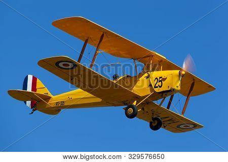 Tyabb, Australia - March 9, 2014: De Havilland Dh-82a Tigermoth Vintage Biplane Vh-ayi.