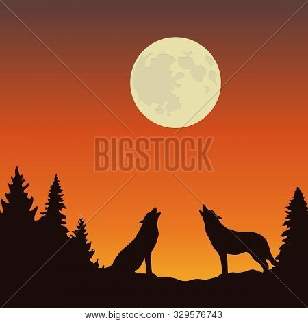 Two Wolves Howls At The Full Moon Orange And Brown Landscape Vector Illustration Eps10