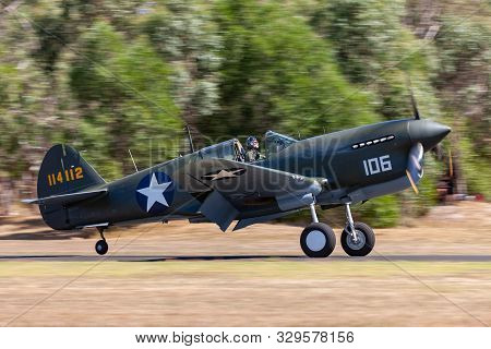 Tyabb, Australia - March 9, 2014: Curtiss P-40f Kittyhawk Fighter Aircraft That Served With The 44th