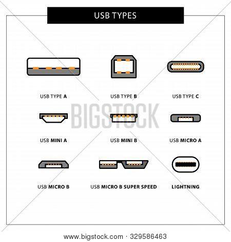 Vector Set Of Usb Computer Universal Connectors: Mini, Micro, Lightning, Type A, B, C. Vector Illust