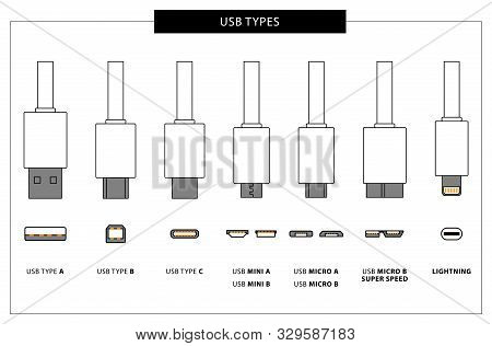 Vector Set Of Usb Computer Universal Connectors: Mini, Micro, Lightning, Type A, B, C.  Computer And