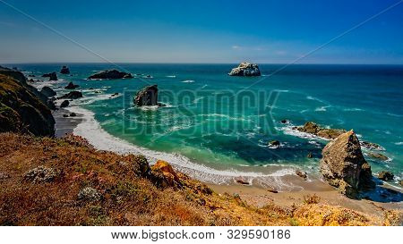 Landscape View Of Bodega Bay In Sonoma County In California, Usa, On A Typical Summer Day In The Mor
