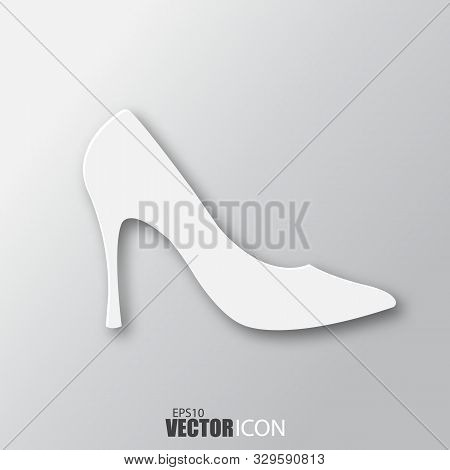 Woman Shoes Icon In White Style With Shadow Isolated On Grey Background.