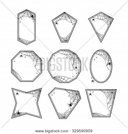 Halloween Frames Set With Spiderweb, Hanging Spiders Sitting Spiders. Design Decorative Elements. Va