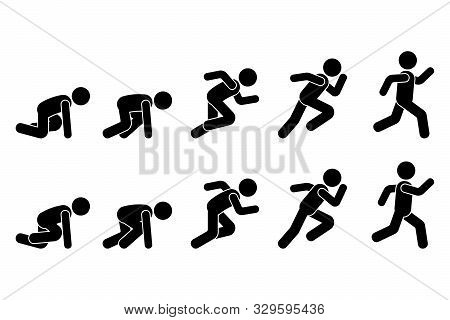 Stick Figure Runner Sprinter Sequence Icon Vector Pictogram. Low Start Speeding Man Sign Symbol Post