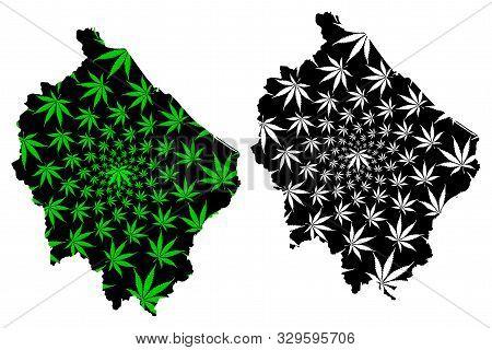 Narathiwat Province (kingdom Of Thailand, Siam, Provinces Of Thailand) Map Is Designed Cannabis Leaf