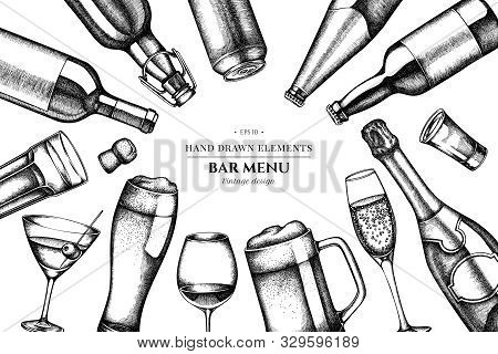 Floral Design With Black And White Glass, Champagne, Mug Of Beer, Alcohol Shot, Bottles Of Beer, Bot