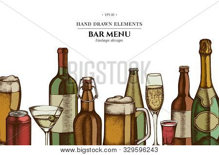Floral Design With Colored Glass, Champagne, Mug Of Beer, Alcohol Shot, Bottles Of Beer, Bottle Of W