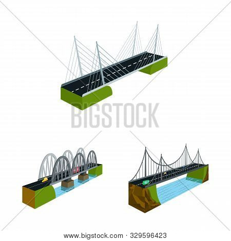 Vector Illustration Of Bridgework And Architecture Symbol. Set Of Bridgework And Structure Stock Sym