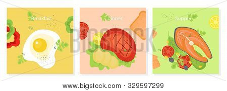 Set Of Delicious Breakfast, Ginner And Supper. Doodle Color Illustration Of Food For The Day