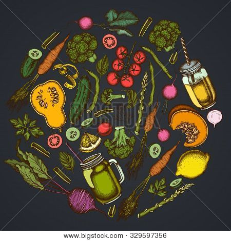 Round Floral Design On Dark Background With Lemons, Broccoli, Radish, Green Beans, Cherry Tomatoes,