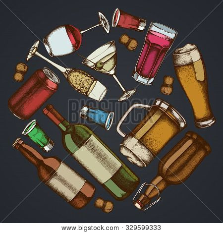 Round Floral Design On Dark Background With Glass, Champagne, Mug Of Beer, Alcohol Shot, Bottles Of