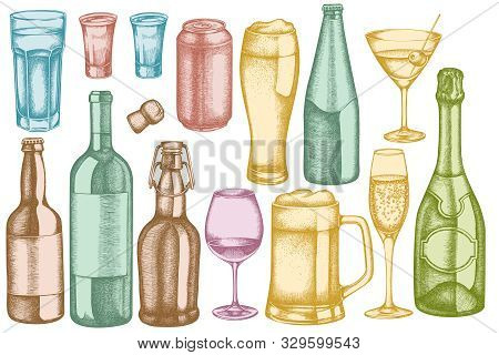 Vector Set Of Hand Drawn Pastel Glass, Champagne, Mug Of Beer, Alcohol Shot, Bottles Of Beer, Bottle