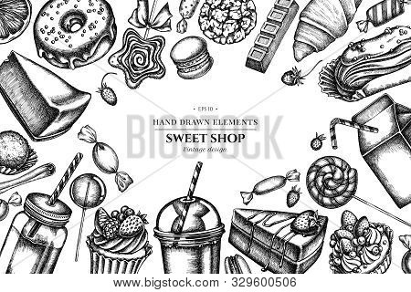 Floral Design With Black And White Cinnamon, Macaron, Lollipop, Bar, Candies, Oranges, Buns And Brea