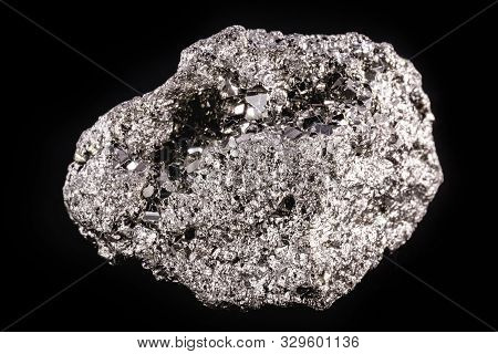 Iron Pyrite Nugget Or Iron Expert, Silver Metal In The Raw State. Brazilian Nugget. Concept Of Miner