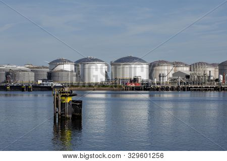 Port Of Rotterdam. Botlek. Oil Refinery Plant From Industry Zone, Aerial View Oil And Gas Industrial