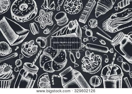 Floral Design With Chalk Cinnamon, Macaron, Lollipop, Bar, Candies, Oranges, Buns And Bread, Croissa